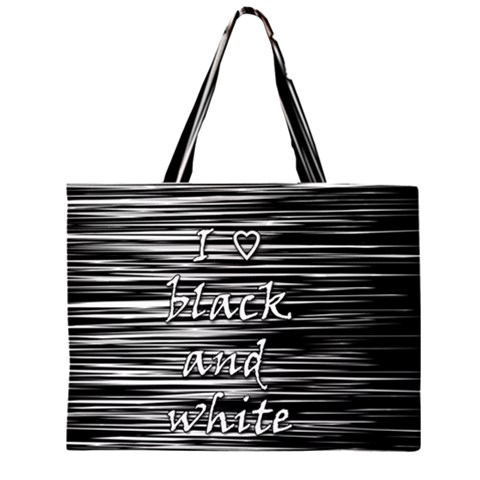I love black and white Large Tote Bag