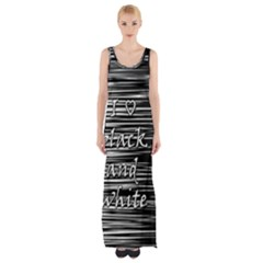 I Love Black And White Maxi Thigh Split Dress