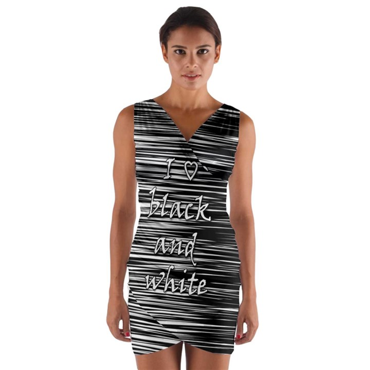 I love black and white Wrap Front Bodycon Dress