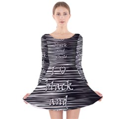 I love black and white Long Sleeve Velvet Skater Dress