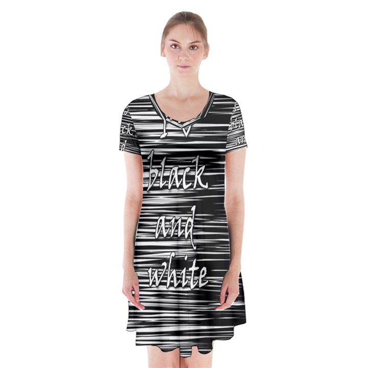 I love black and white Short Sleeve V-neck Flare Dress