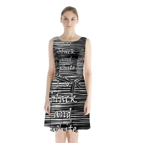 I love black and white Sleeveless Chiffon Waist Tie Dress