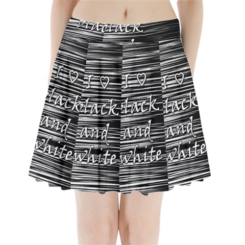I love black and white Pleated Mini Skirt