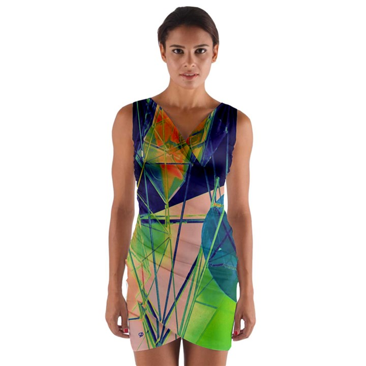 New Form Technology Wrap Front Bodycon Dress