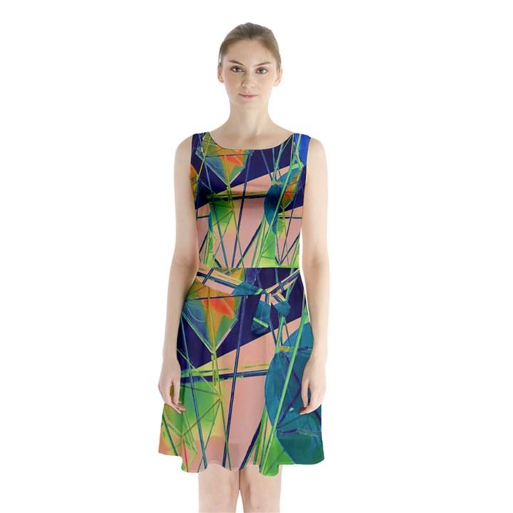 New Form Technology Sleeveless Chiffon Waist Tie Dress