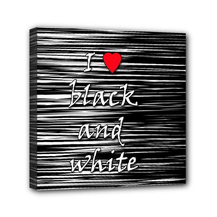 I love black and white 2 Mini Canvas 6  x 6