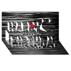 I love black and white 2 Happy Birthday 3D Greeting Card (8x4)