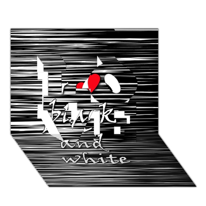 I love black and white 2 LOVE 3D Greeting Card (7x5)
