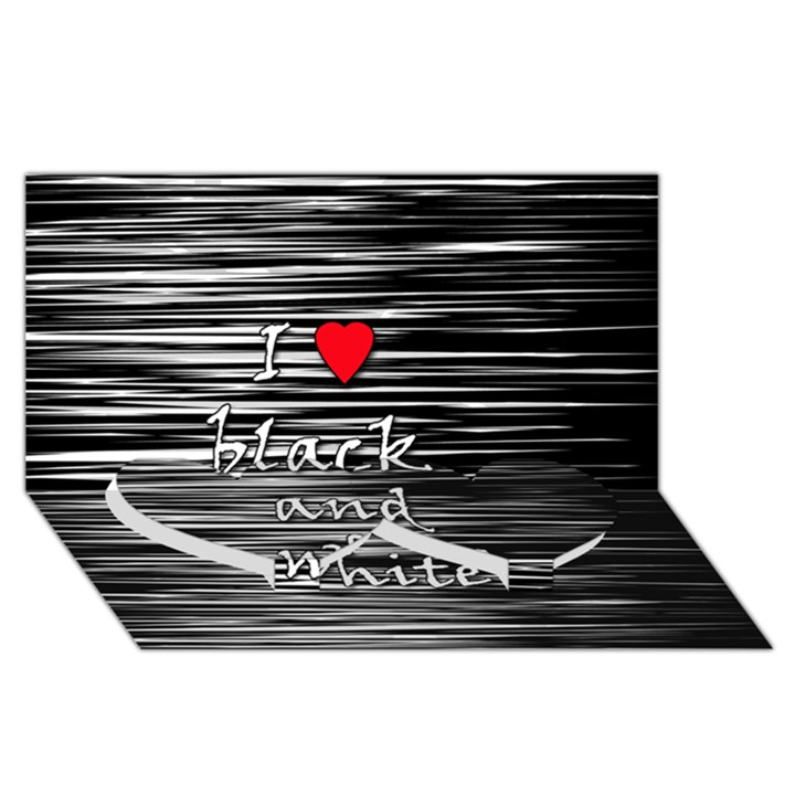 I love black and white 2 Twin Heart Bottom 3D Greeting Card (8x4)