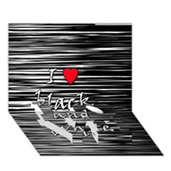 I Love Black And White 2 Love Bottom 3d Greeting Card (7x5)