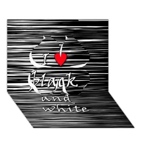 I love black and white 2 Clover 3D Greeting Card (7x5)
