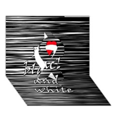 I Love Black And White 2 Ribbon 3d Greeting Card (7x5)