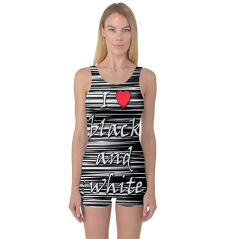 I love black and white 2 One Piece Boyleg Swimsuit