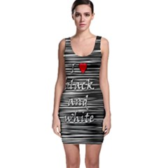 I Love Black And White 2 Sleeveless Bodycon Dress