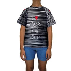 I love black and white 2 Kids  Short Sleeve Swimwear