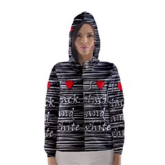 I love black and white 2 Hooded Wind Breaker (Women)