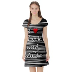 I love black and white 2 Short Sleeve Skater Dress
