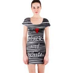 I Love Black And White 2 Short Sleeve Bodycon Dress