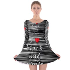 I love black and white 2 Long Sleeve Skater Dress