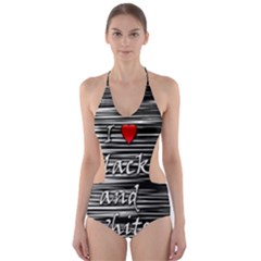 I love black and white 2 Cut-Out One Piece Swimsuit
