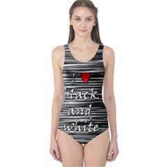 I love black and white 2 One Piece Swimsuit