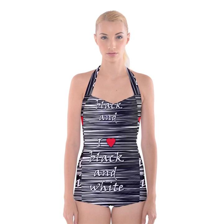I love black and white 2 Boyleg Halter Swimsuit
