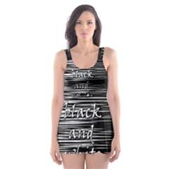 I Love Black And White 2 Skater Dress Swimsuit