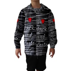 I Love Black And White 2 Hooded Wind Breaker (kids)