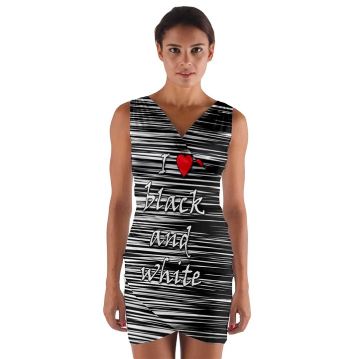 I love black and white 2 Wrap Front Bodycon Dress