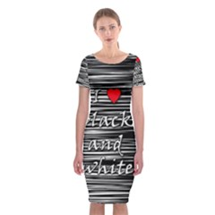I Love Black And White 2 Classic Short Sleeve Midi Dress