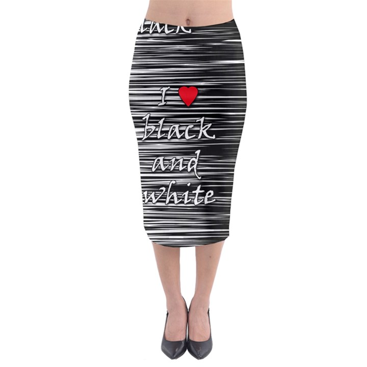 I love black and white 2 Midi Pencil Skirt