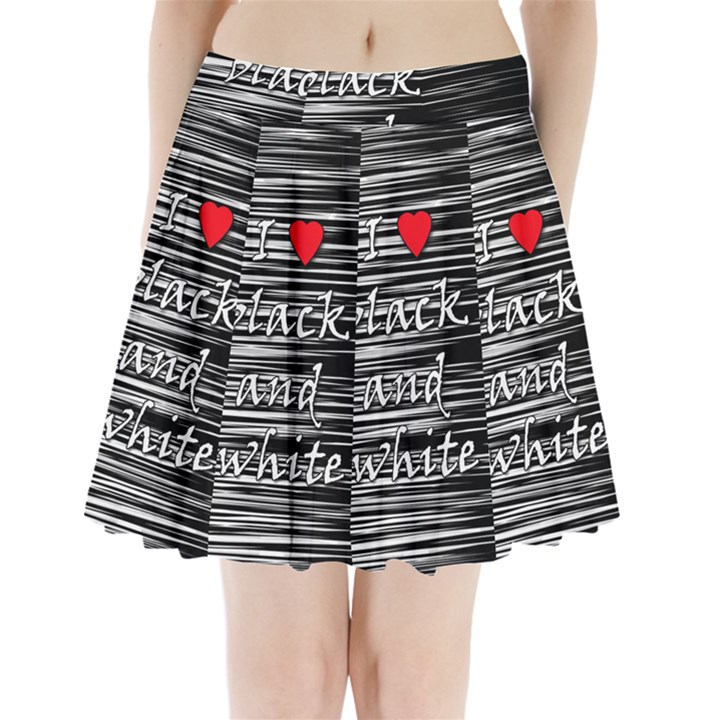 I love black and white 2 Pleated Mini Skirt