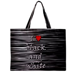 I Love Black And White 2 Medium Zipper Tote Bag