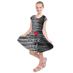 I Love Black And White 2 Kids  Short Sleeve Dress