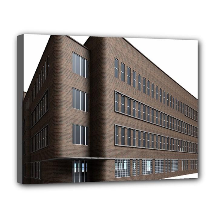 Office Building Villa Rendering Canvas 14  x 11