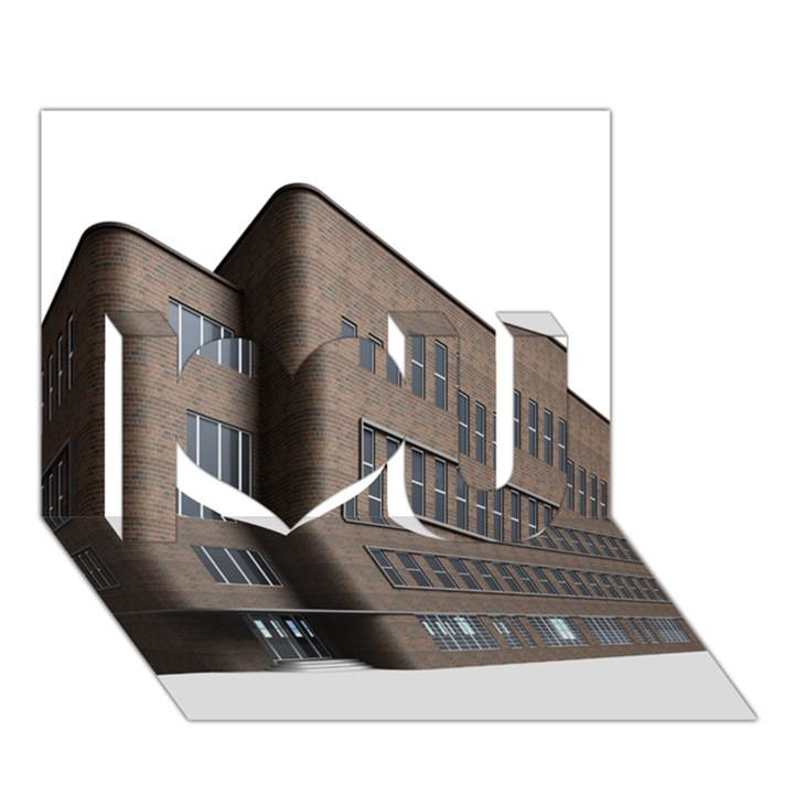 Office Building Villa Rendering I Love You 3D Greeting Card (7x5)