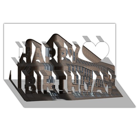 Office Building Villa Rendering Happy Birthday 3D Greeting Card (8x4)