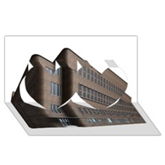 Office Building Villa Rendering Twin Hearts 3D Greeting Card (8x4)
