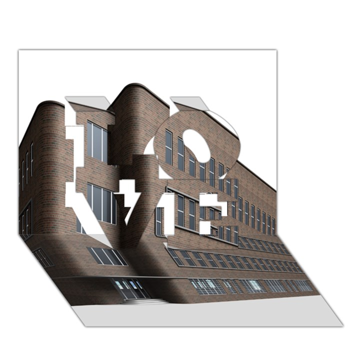 Office Building Villa Rendering LOVE 3D Greeting Card (7x5)