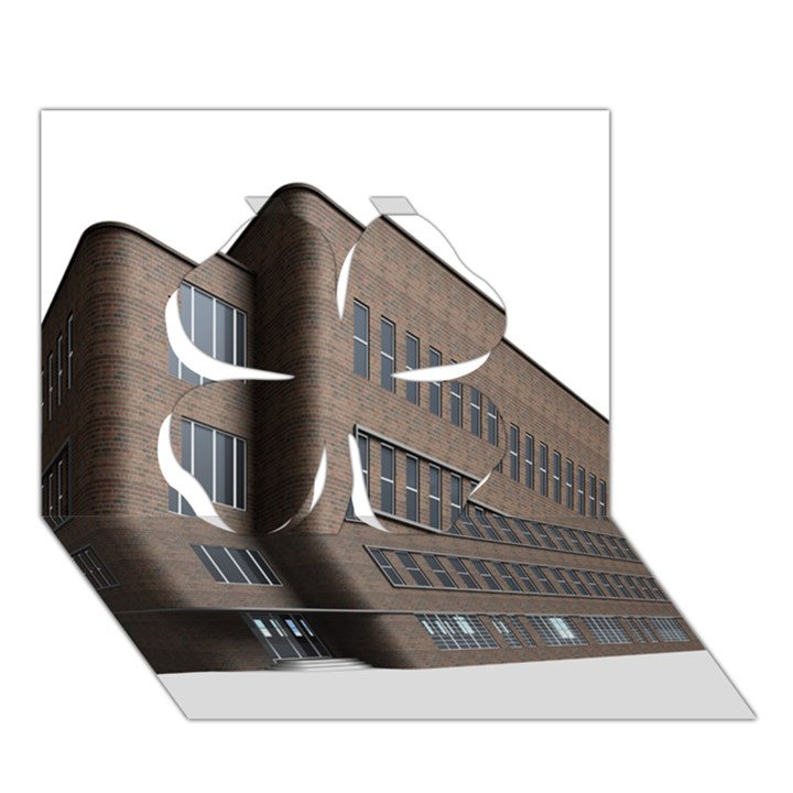 Office Building Villa Rendering Clover 3D Greeting Card (7x5)