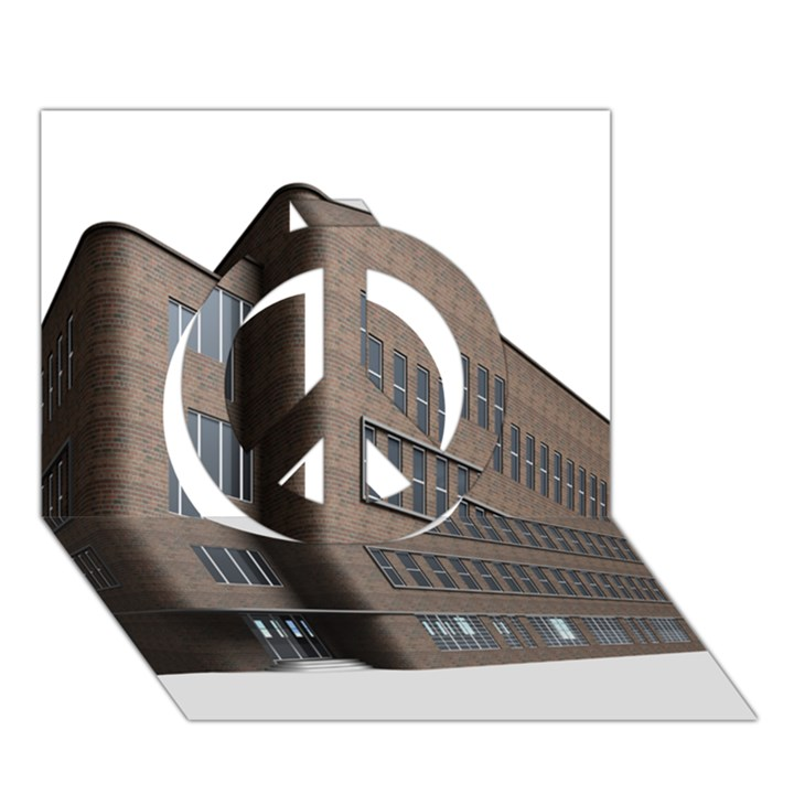 Office Building Villa Rendering Peace Sign 3D Greeting Card (7x5)