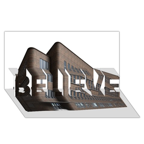 Office Building Villa Rendering BELIEVE 3D Greeting Card (8x4)