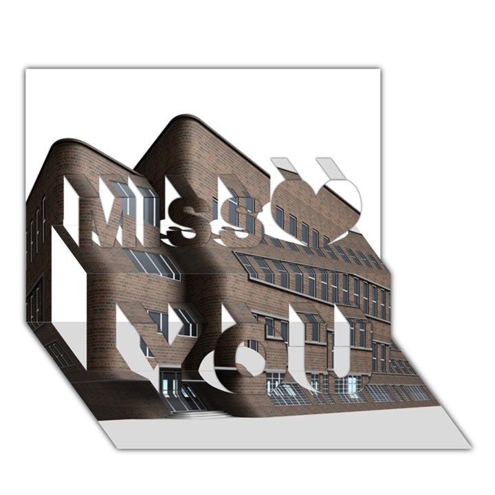 Office Building Villa Rendering Miss You 3D Greeting Card (7x5)