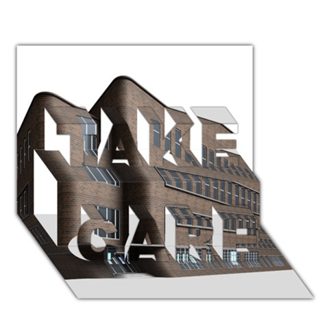 Office Building Villa Rendering TAKE CARE 3D Greeting Card (7x5)