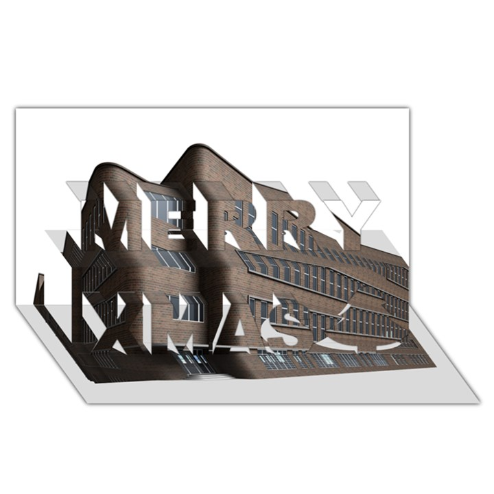 Office Building Villa Rendering Merry Xmas 3D Greeting Card (8x4)