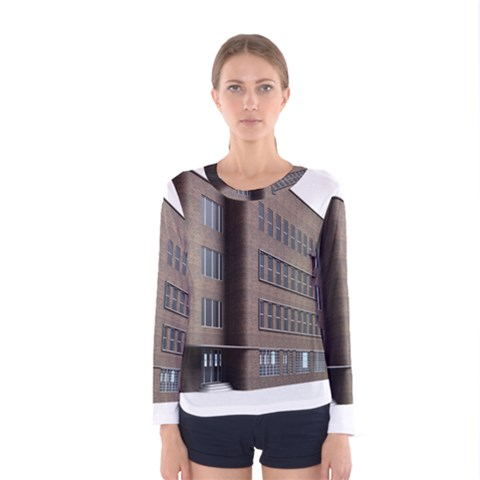 Office Building Villa Rendering Women s Long Sleeve Tee