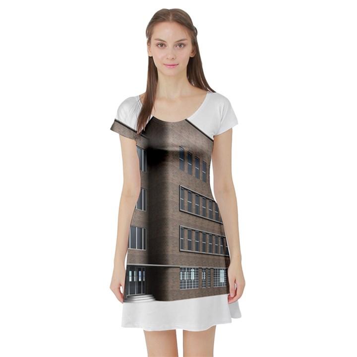 Office Building Villa Rendering Short Sleeve Skater Dress
