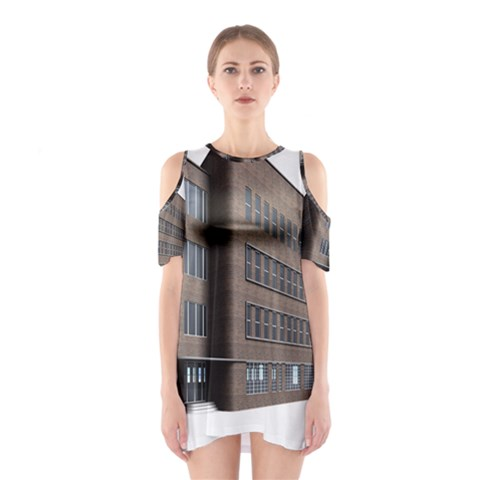 Office Building Villa Rendering Cutout Shoulder Dress