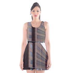 Office Building Villa Rendering Scoop Neck Skater Dress
