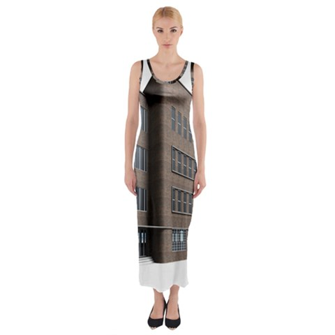 Office Building Villa Rendering Fitted Maxi Dress